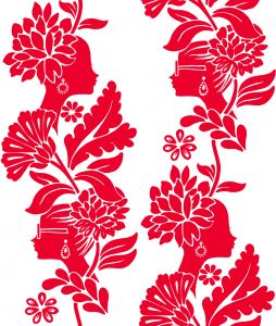 Papel pintado Jordi Labanda Damask Ladies color rojo