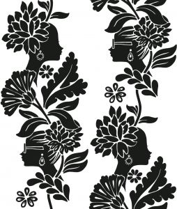 Papel Pintado Jordi Lavanda Damask Ladies Color Blanco y Negro