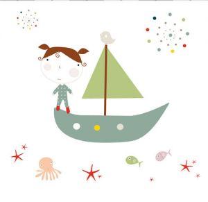 mural infantil barco en el mar