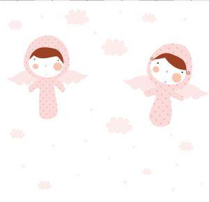 mural ángeles rosas