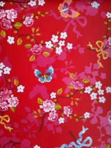 Papel Pintado Mariposas Rojo