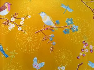 Papel Pintado Pájaros Amarillo