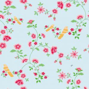 papel,pintado,pájaros,amarillos,rosas,cielo,azul