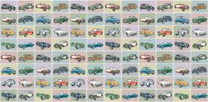 mural infantil coches color