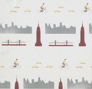Papel Pintado Nueva York Bermellón