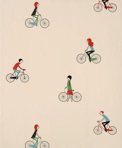 Papel Pintado Bicicletas Beige