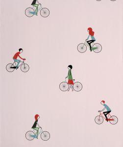 Papel Pintado Bicicletas Rosa