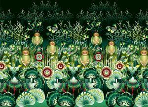 mural,Catalina,Estrada,búhos,selva,verde