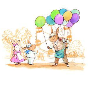 mural infantil conejitos con globos