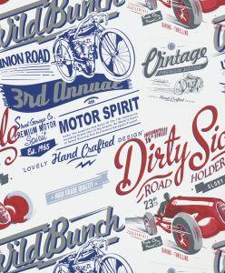 Papel Pintado Vintage Rally Azul