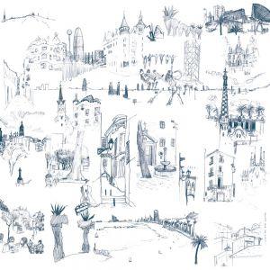 Mural Barcelona Gris