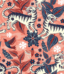 Papel pintado Selva de Tigres Pink by Catalina Estrada