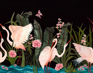 Mural Wetlands Black by Laura Torroba