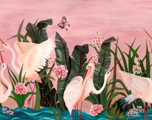 Mural Wetlands Pink by Laura Torroba