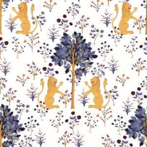 Papel Pintado Medieval Tapestry White by Brianda FJ Stuart