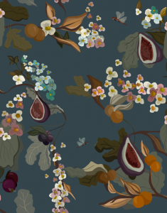 Papel Pintado Fruits Navy by Joselu Montojo