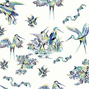 Papel Pintado Grullas Azul
