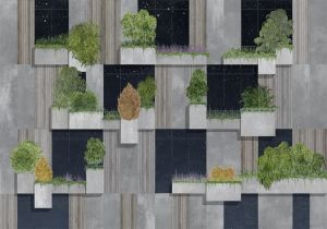 Mural Vertical Forest Night
