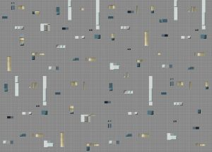 Papel pintado Pixels Grey/Blue