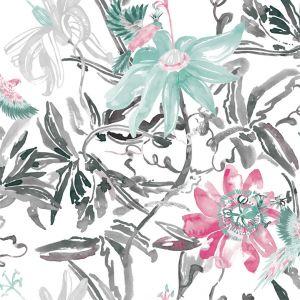 Papel flor plateado rosa verde