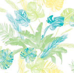 Papel jungla hojas azul amarillo verde