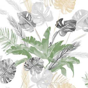 Papel jungla hojas dorado plateado
