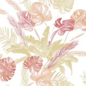 Papel jungla hojas rojo beige
