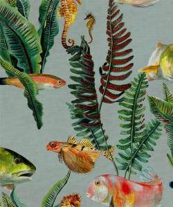 Papel pintado Bank of Fish Cyan