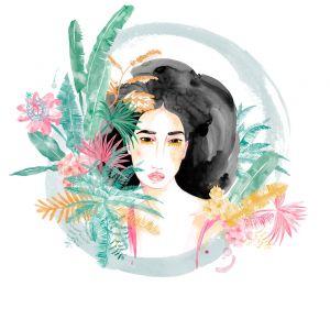 mural mujer exotica selva