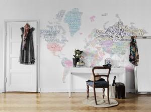 Mural letter world map