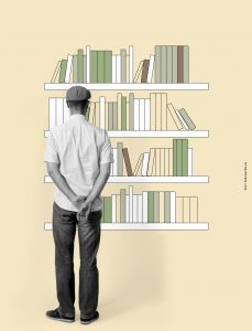 Cream Bookshelf Mural