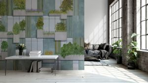 Mural Vertical Forest Grey