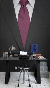 suit & red tie mural