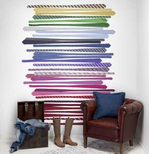 multicoloured ties mural
