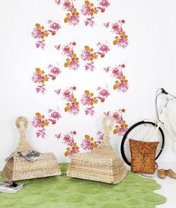 oriental flower mural white