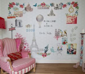 Paris Je t'aime pink mural