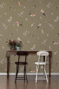 Verso Soft grey/orange wallpaper