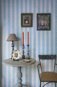 Dentelle stripe blue wallpaper