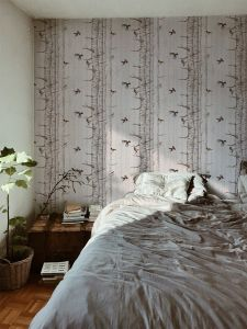 Birch Trees Pink wallpaper