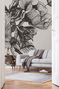 Mural Giant Peonies Ink