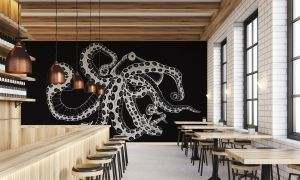 Mural Octopus X-Ray Black