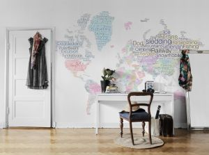 Mural letter world map