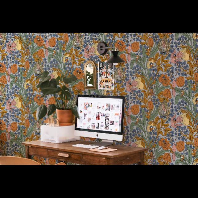 Neo- Belle-epoque Blue wallpaper