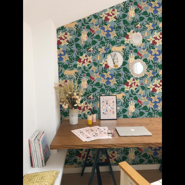 Neo-Flowery Blue wallpaper