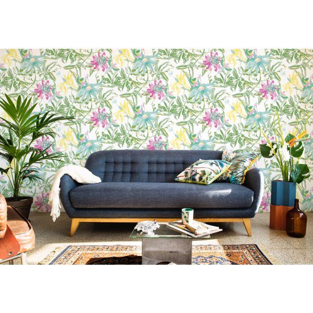 wallpaper flower red green yellow jungle