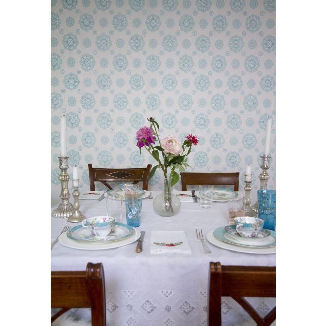 wallpaper,Room,Seven,floral,shape,turquoise