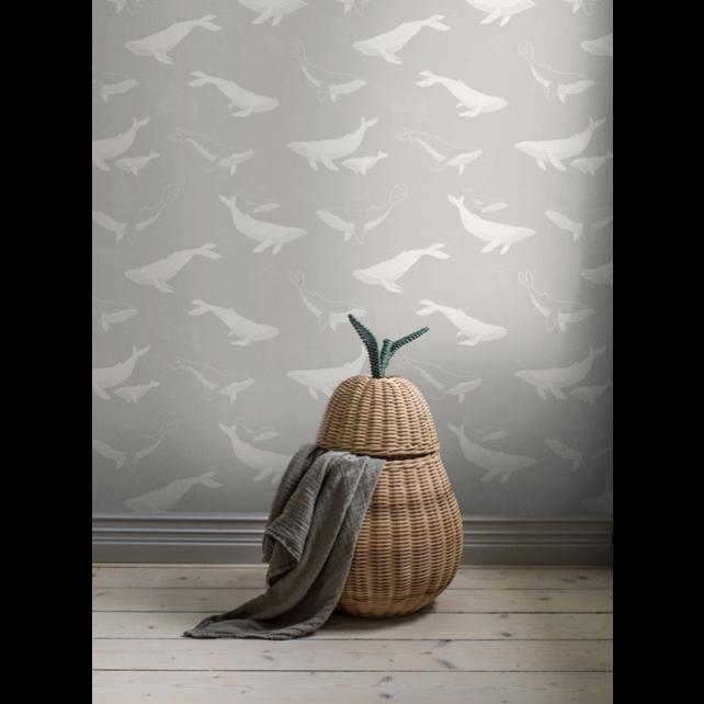 Whales Grey wallpaper