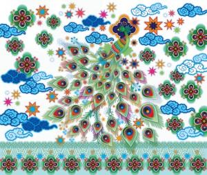 mural,Catalina,Estrada,peacock,clouds,flowers