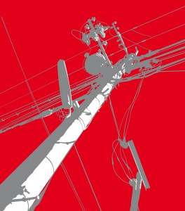 Red Telegraph Pole Mural