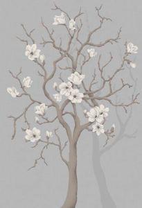 Grey Magnolia Tree Mural
